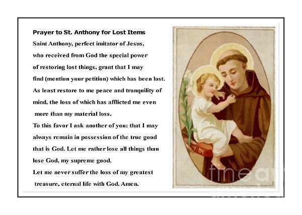 Saint anthony prayer for lost love