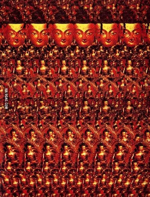 If You Can Concentrate Hard Enough You Can See One Giant Buddha In 3d Magic Eye Pictures Giant Buddha Eye Illusions