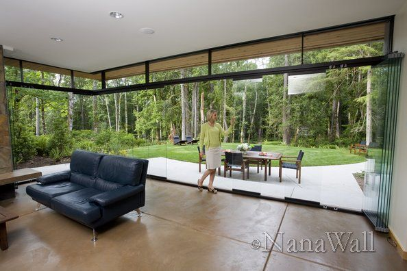 Woodsy Views Through Nanawall Operable Glass Walls Outdoor Living Outdoor Living Areas Outdoor Furniture Sets