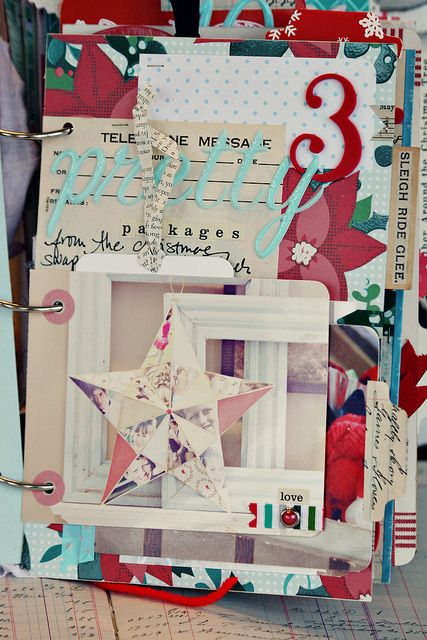 December Daily page inspiration - mix of different thickers, book print, vintage wrapping paper