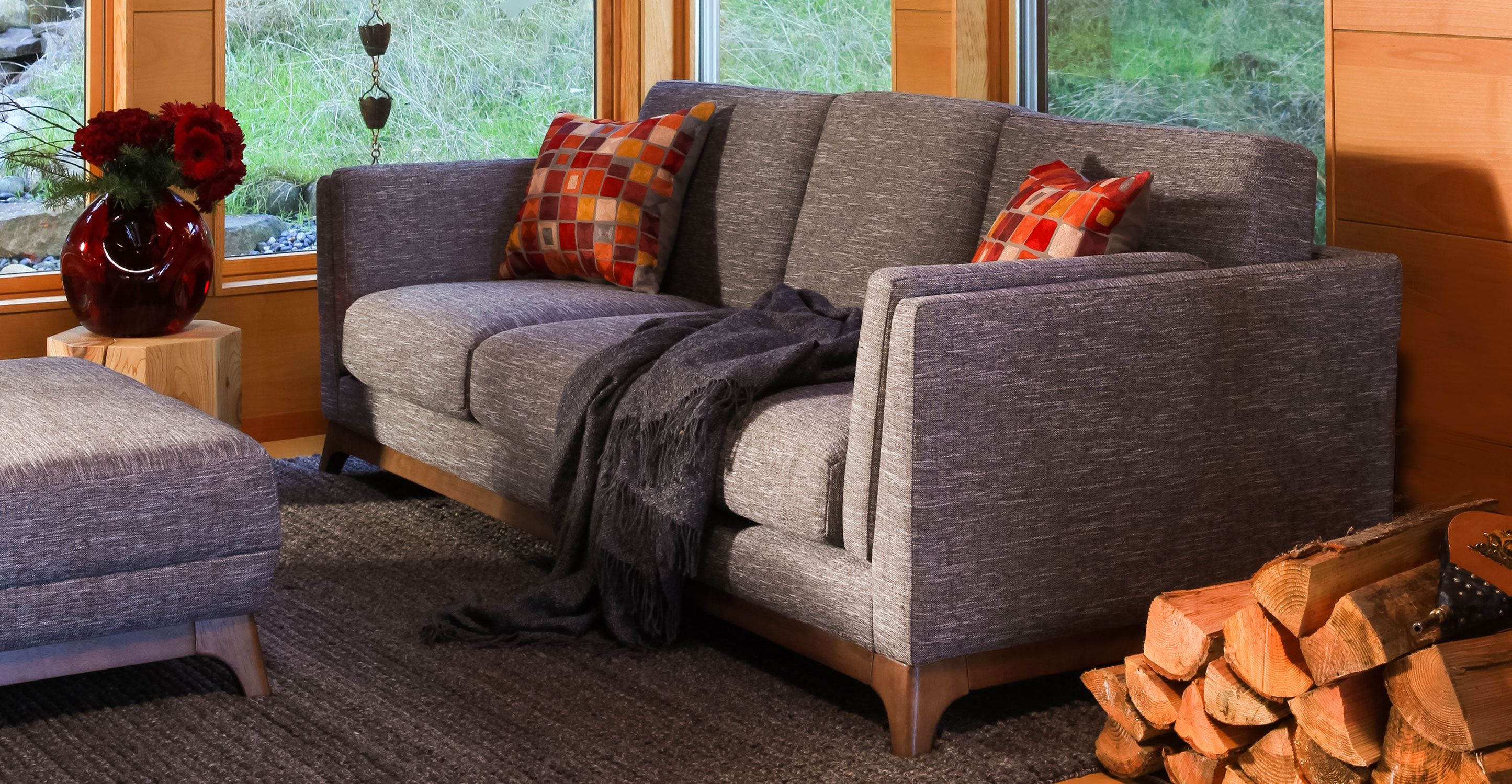 Gray Loveseat With Solid Wood Legs Article Ceni Modern Furniture