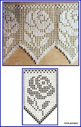 Filet crochet lace edging with roses and points #filetcrochet