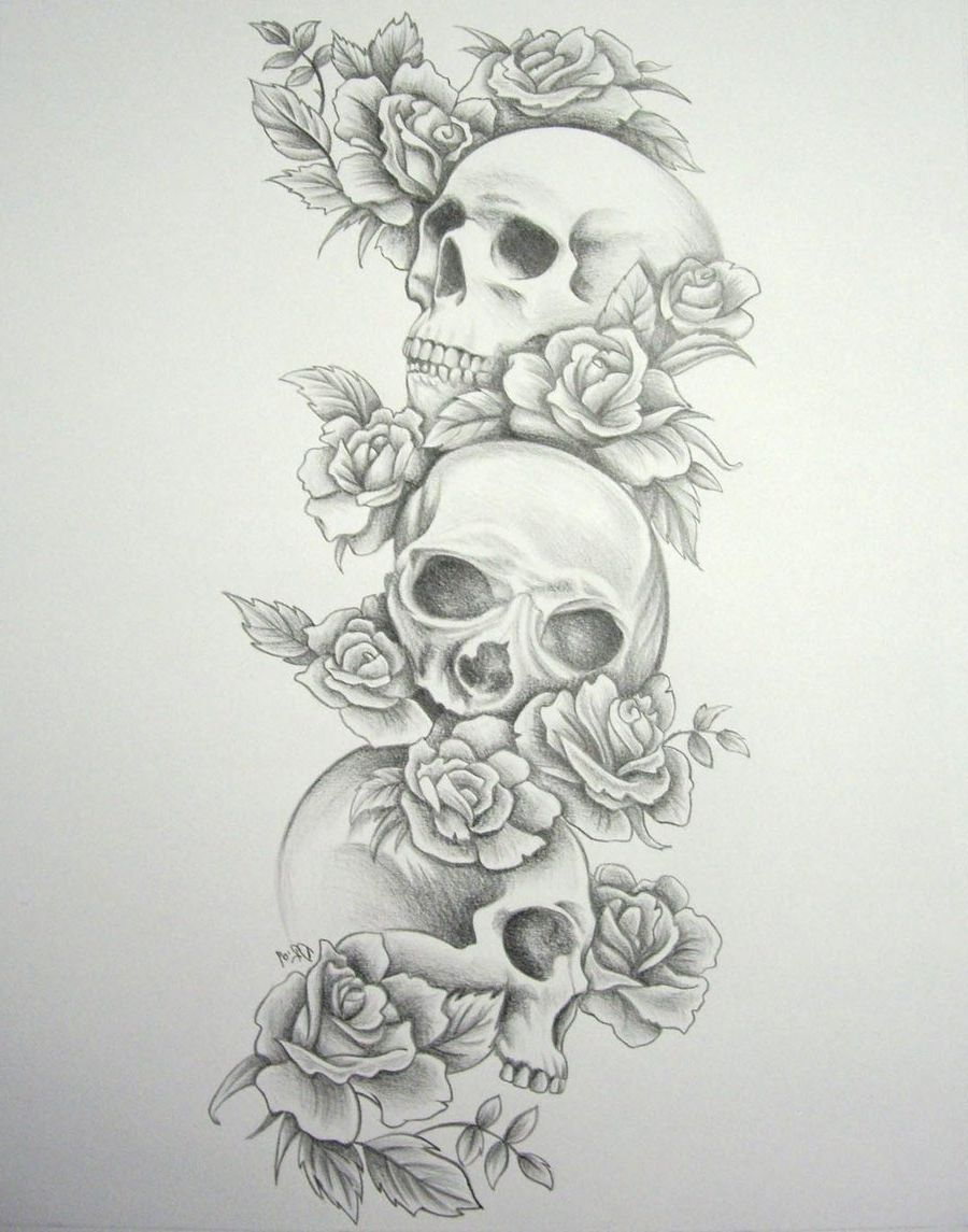 Sleeve Black And White Skull And Rose Tattoo