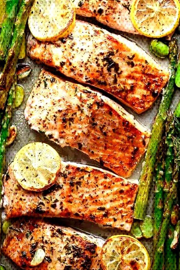 One Pan Roasted Lemon Pepper Salmon and Garlic Parmesan Asparagus - Once you start making one pan m