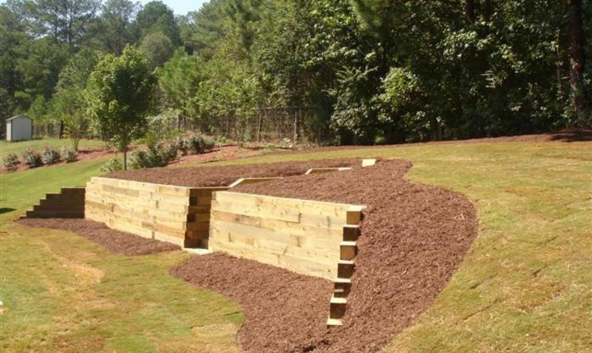 Image result for sleeper retaining walls using pallets ...
