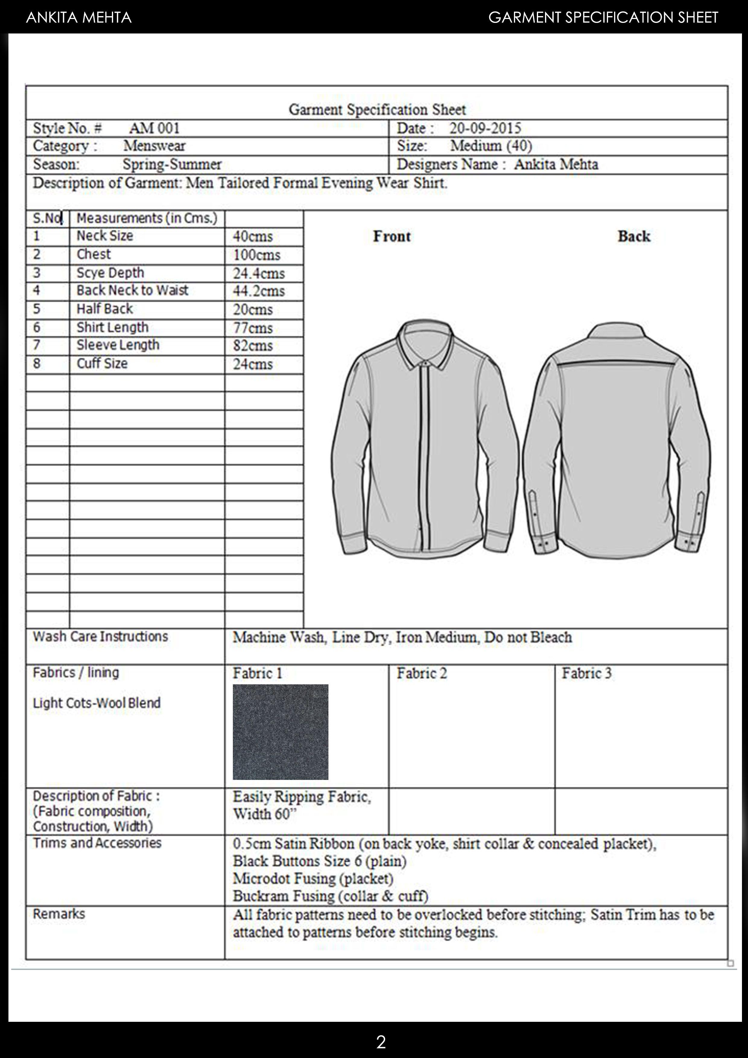 Menswear Formal Shirt Garment Specification Sheet