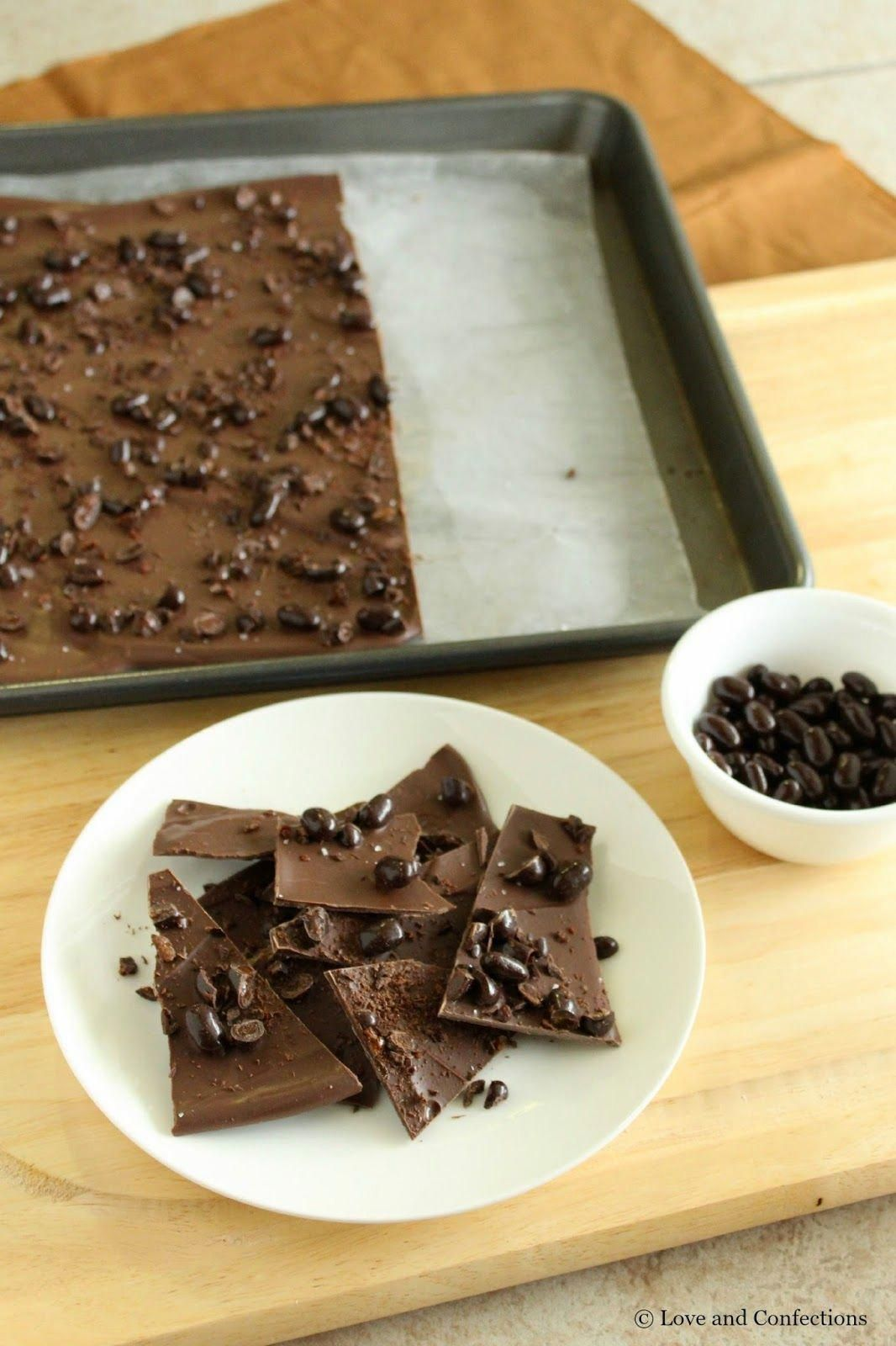 Chocolate Covered Espresso Bean Bark #SundaySupper #chocolatecoveredcoffeebeans