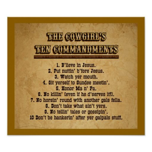 Cowgirl Ten Commandments Poster | Zazzle.com #cowboysandcowgirls