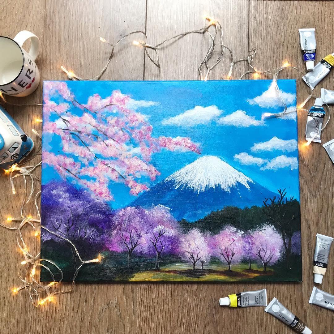 Mt Fuji Mountfuji Fuji Japan Mountain Painting Acrylic Acrylicpainting Art Cherry Mountain Painting Acrylic Japan Painting Nature Paintings Acrylic