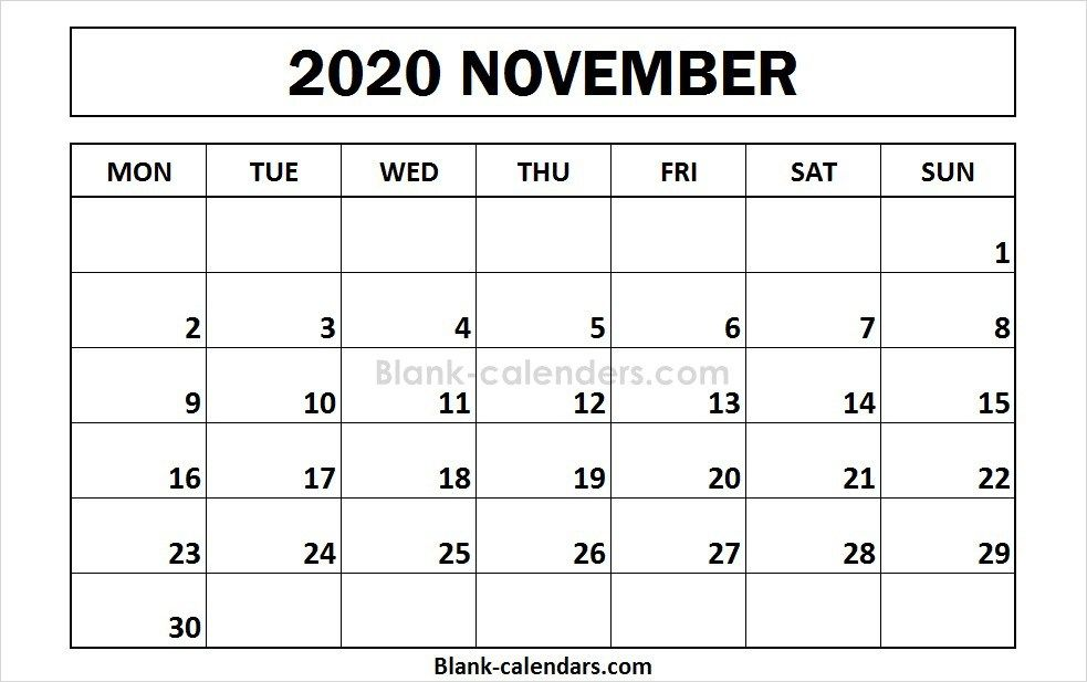 Printable November 2020 Calendar Monday Start 2021 Calendar Calendar 2020 Calendar Template
