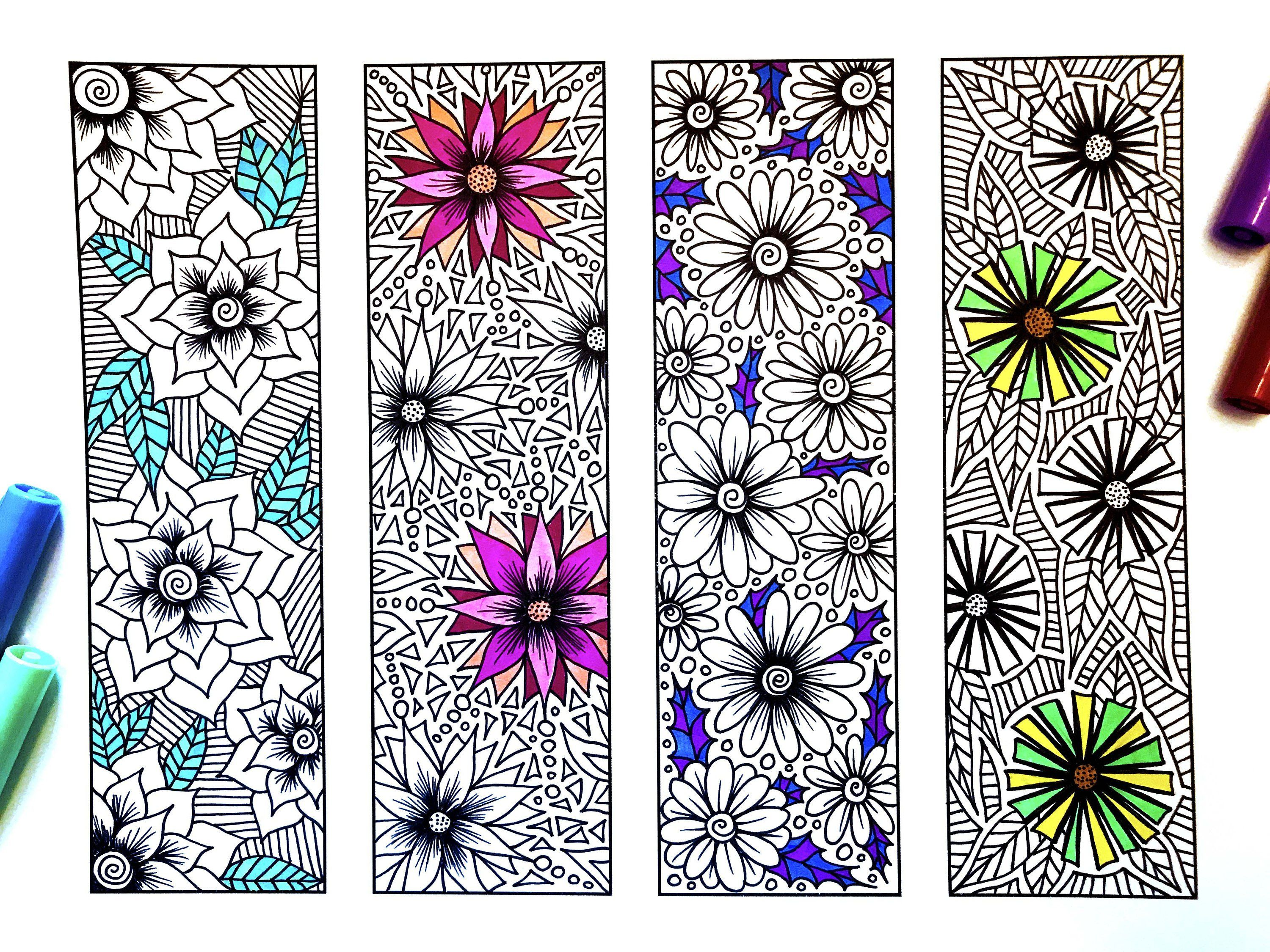 Flower Bookmarks - PDF Zentangle Coloring Page | Feather ...