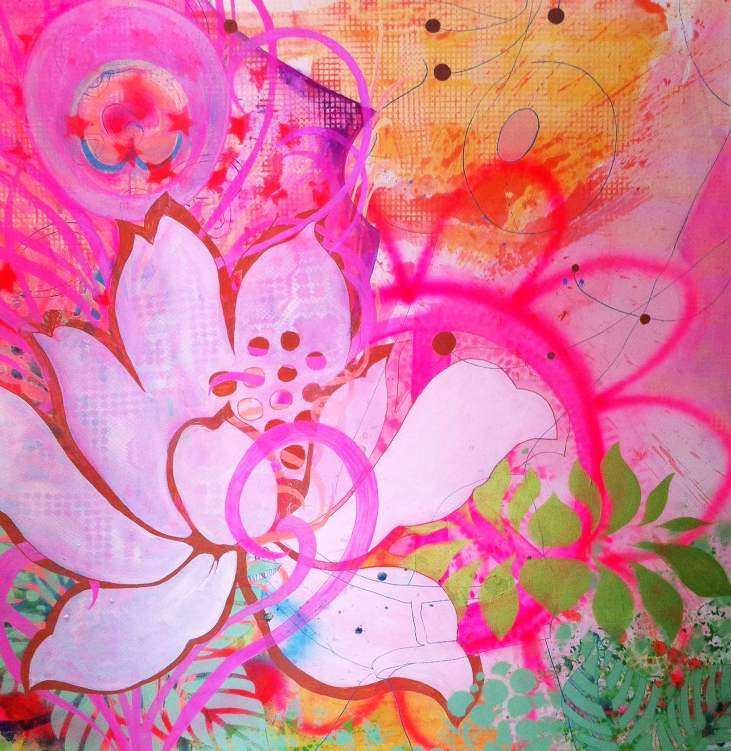 painting by Charlotte Clausen, DK   100cm x100 cm