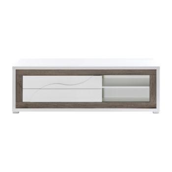 meuble tv blanc/chene appart coiffeuse Pinterest - Meuble Tv Avec Rangement