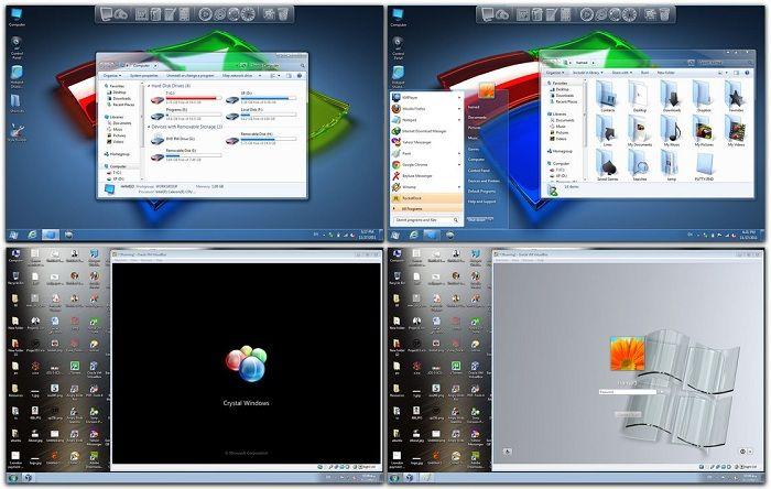 Windows 7 Theme Crystal Skin Pack Windows 7 Themes Clean