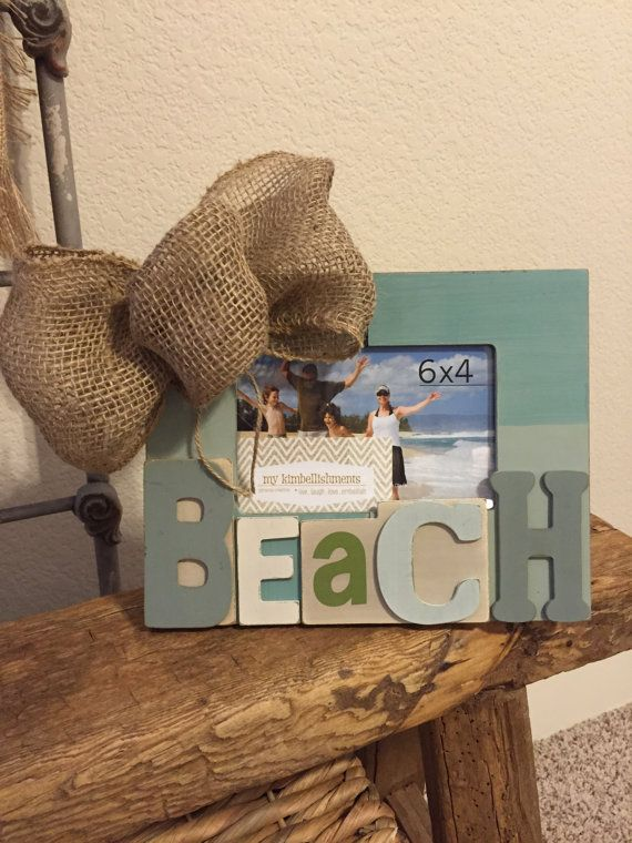 4x6 distressed BEACH frame with burlap bow accent