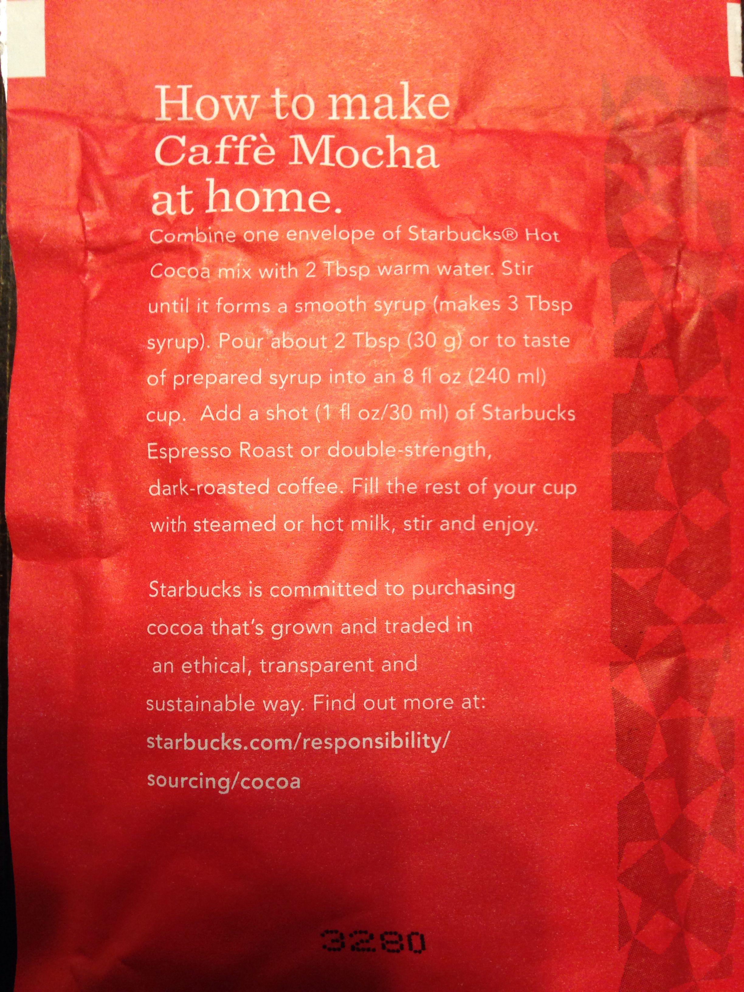 Caffeinne In Starbucks Powdered Hot Chocolate