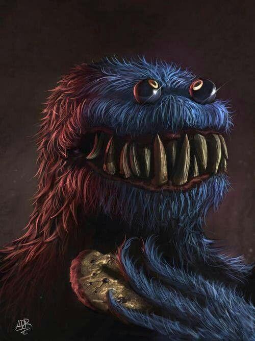 Dark art: Evil Cookie Monster | Monster art, Creepy drawings ...