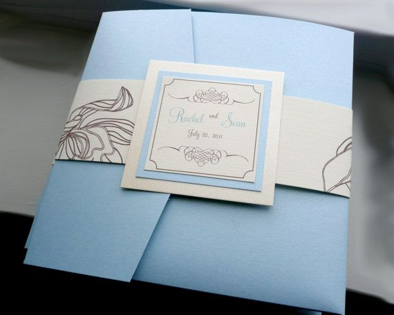 Light Blue Wedding Invitation Blue And Brown Topaz Pocketfold Invitation S Pocket Fold Wedding Invitations Pocketfold Invitations Brown Wedding Invitations