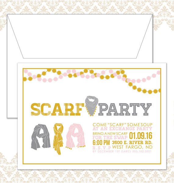 Funny Christmas Gift Exchange Ideas: Scarf Party Invite Scarf Exchange Party By SpillingBeans