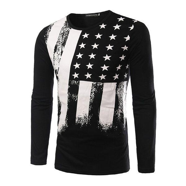 Mens Fashion Printing O-neck Collar Long Sleeve T-shirt Slim Fit Cotton Tops