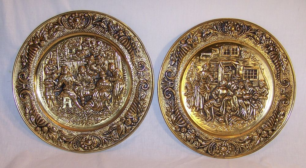 Decorative Wall Plates Set brass decorative wall plates - set of 2 - embossed - colonial pub