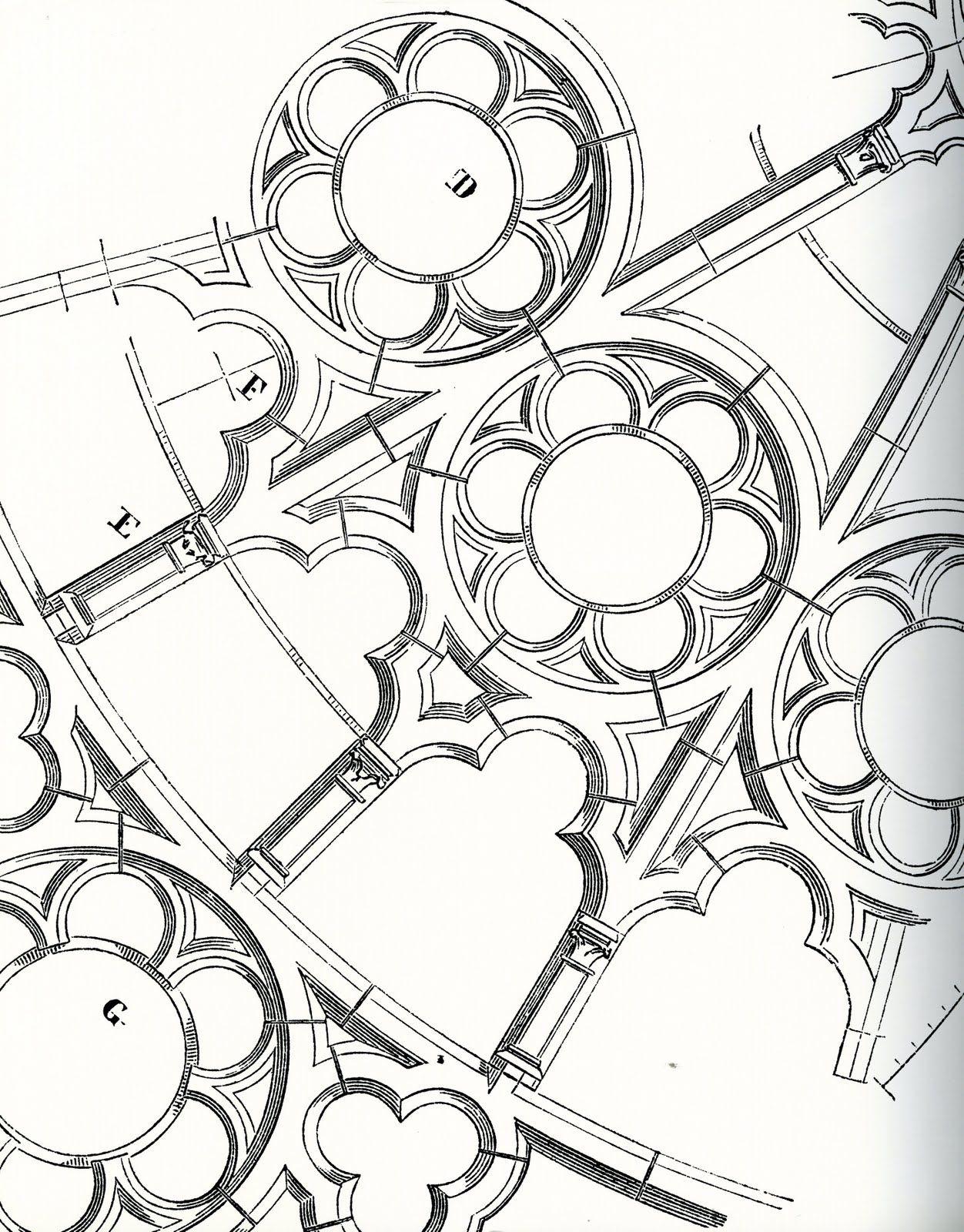 Frieze Tile Rose Window Drawings