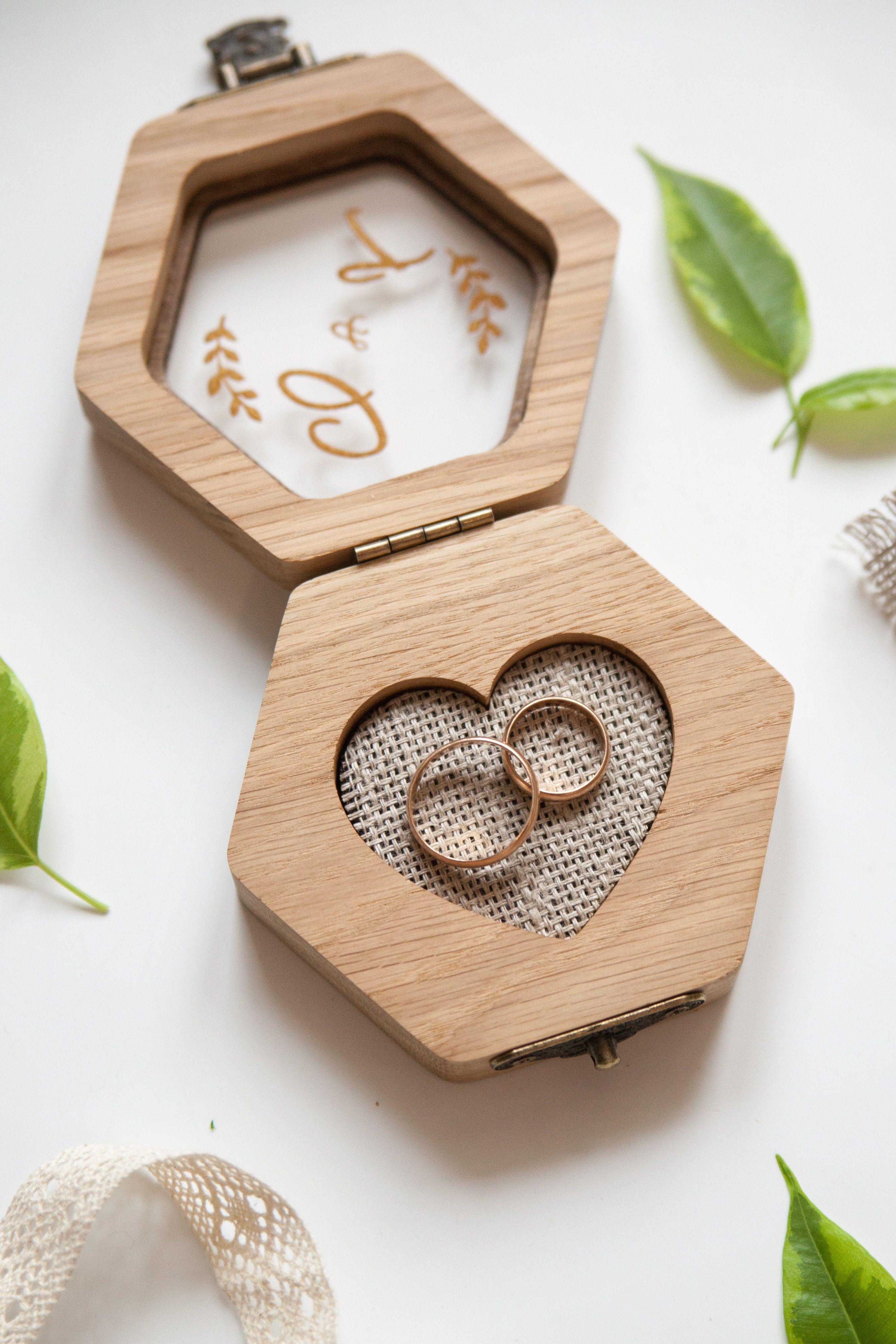 Hexagon Wedding Ring Box Wedding Decor Personalized Wooden Etsy In 2020 Wedding Ring Box Wood Ring Box Wedding Wooden Engagement Ring Boxes