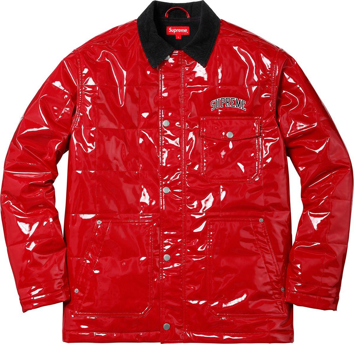 3196dd8cdb8 Supreme Quilted Patent Vinyl Work Jacket