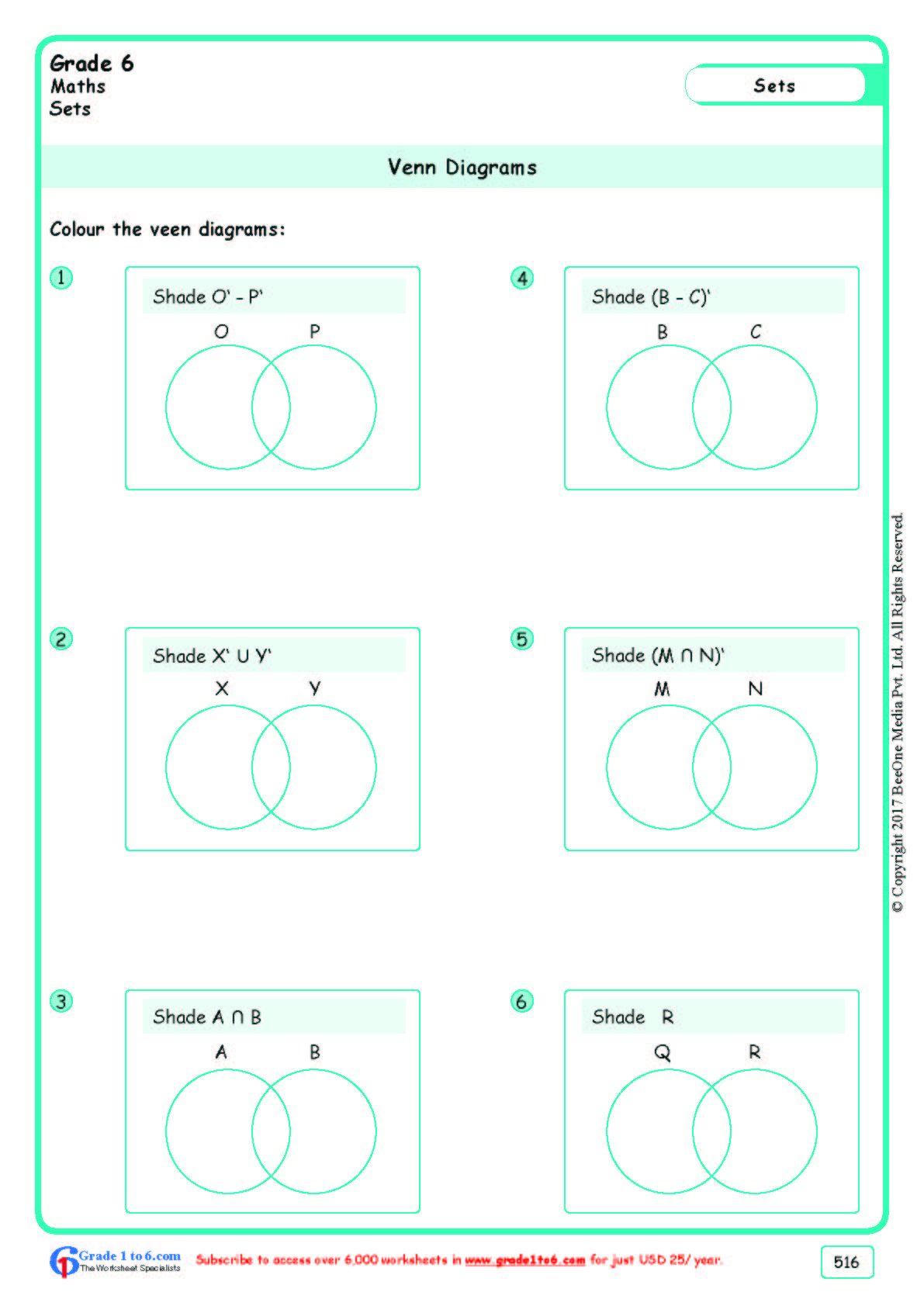Worksheet Grade 6 Math Enn Diagrams In
