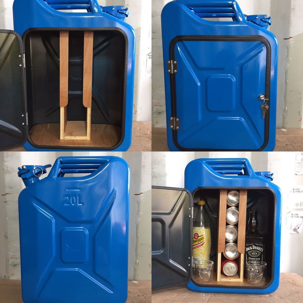 upcycled jerry can mini bar picnic camping recycled new can blue man cave lfass m bel. Black Bedroom Furniture Sets. Home Design Ideas