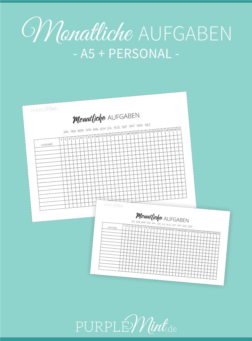 Monatliche Aufgaben - Checkliste // Filofax [free printable ...