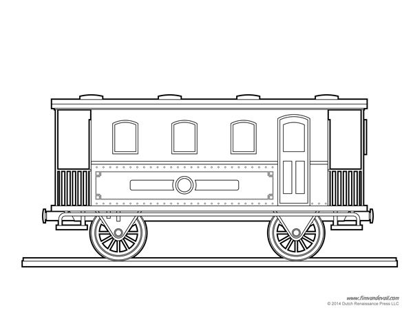 Train Car Coloring Page Art amp