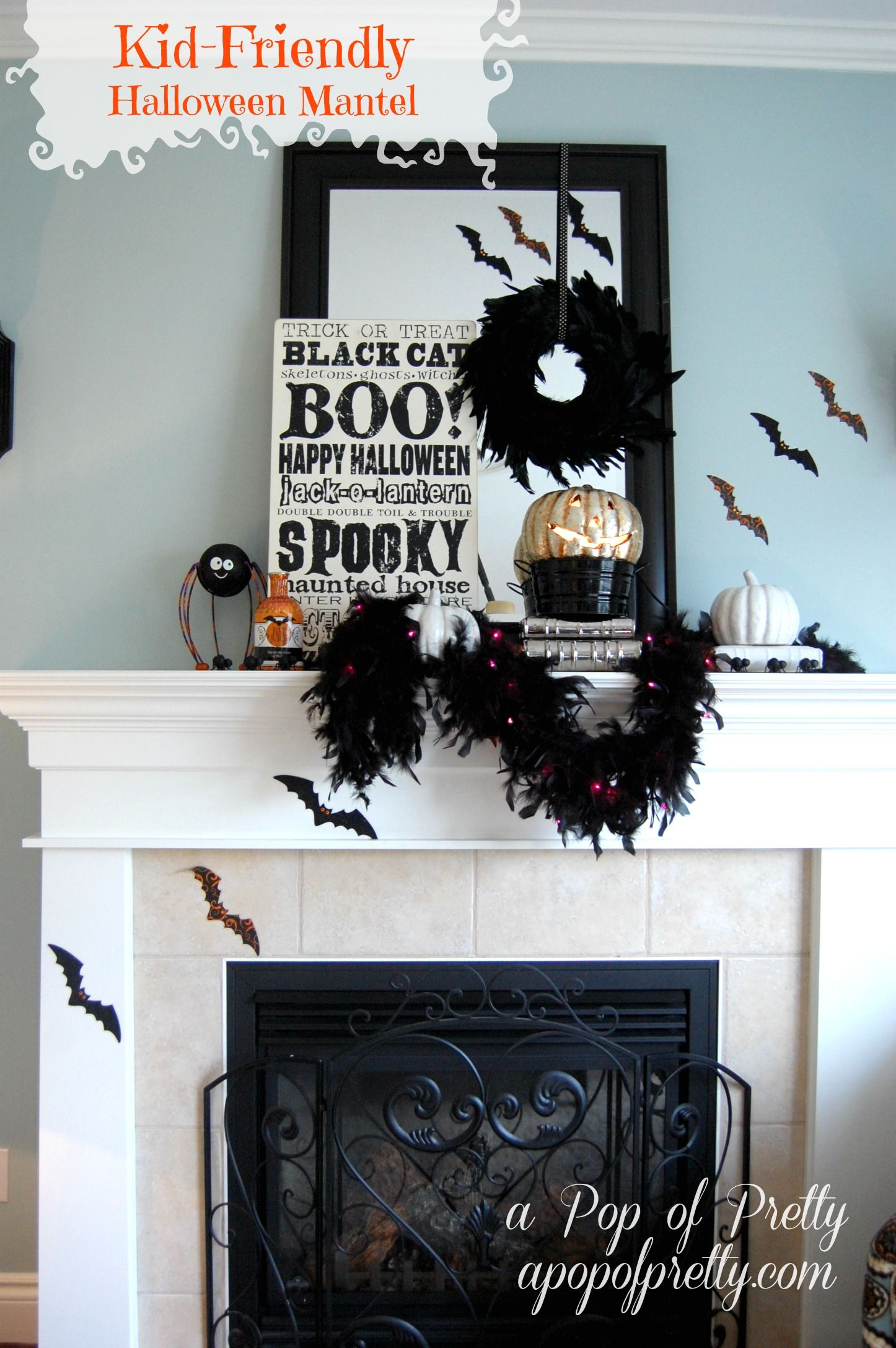 Kid-Friendly Halloween Mantel / Mantle (Halloween Decorating - Decorating For Halloween