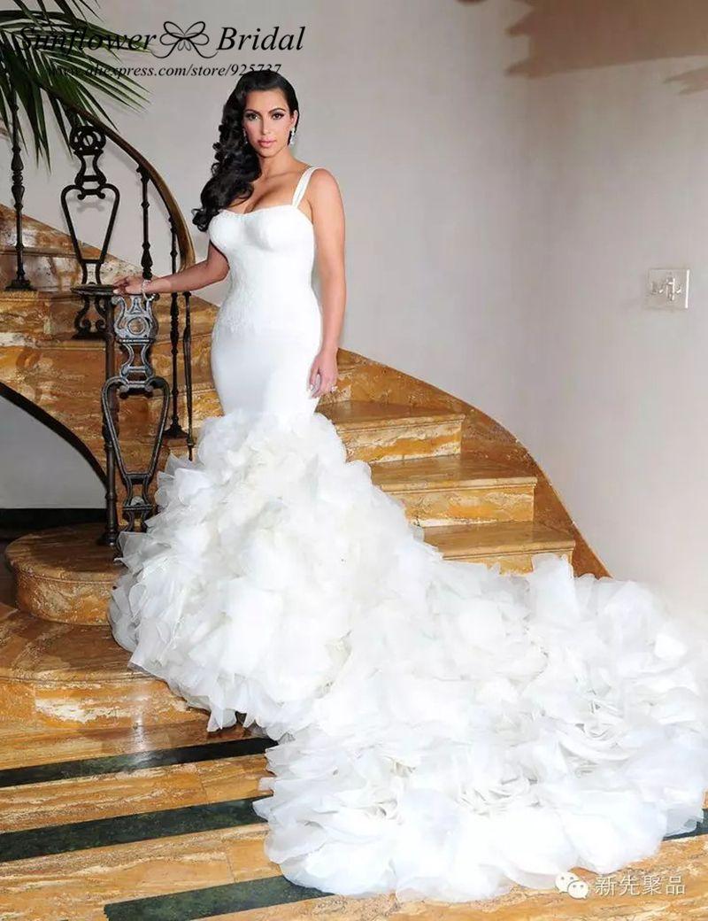 Train Ruffles Mermaid Wedding Dress