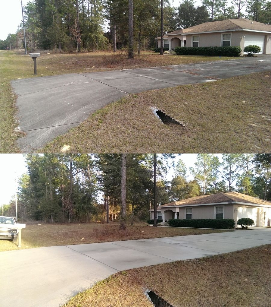 Driveway pressure washing, before and after by Just for Cuts Lawn Maintenance.