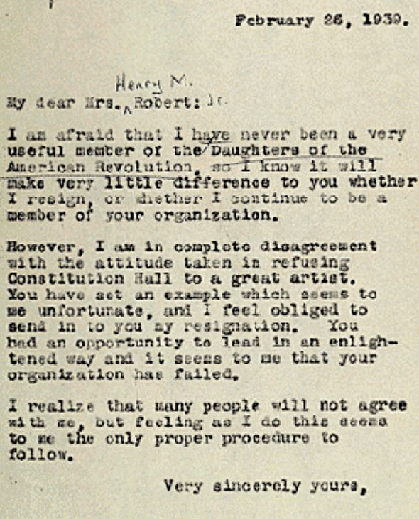 Eleanor Roosevelt resigned from the Daughters of the American - best of letter format for leave request