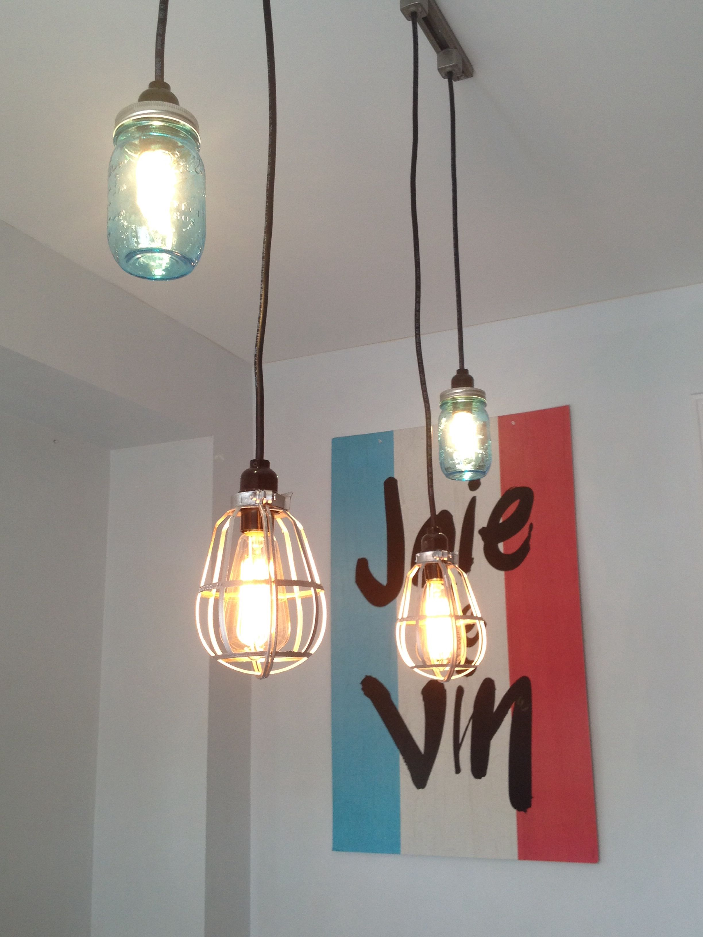 used track lighting. DIY Lighting. Turn Any Track Lighting Into Your Own. Used Blue Mason Jars And Edison Bulbs For The Industrial Feel Look.