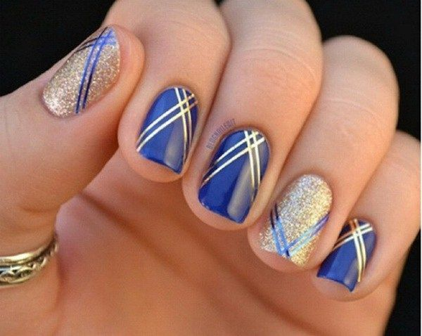 40 Blue Nail Art Ideas | Stripped nails, Blue nails and Prom nails