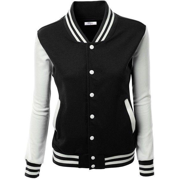 Meaneor Women S Slim Fit Baseball Bomber Club Varsity Jacket Coat 89 Liked On Polyvor Fleece Varsity Jacket Slim Fit Bomber Jacket Leather Look Jackets
