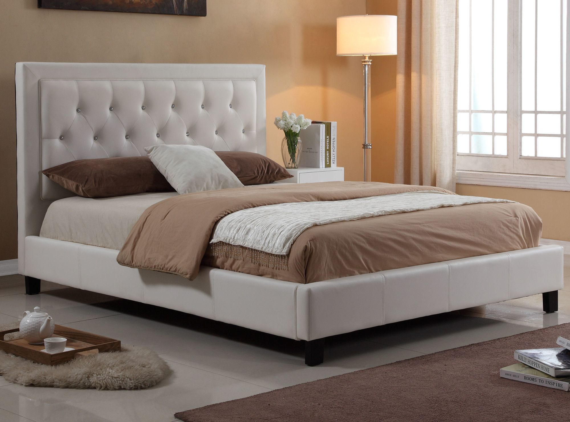 haverford diamond headboard upholstered platform bed upholstered
