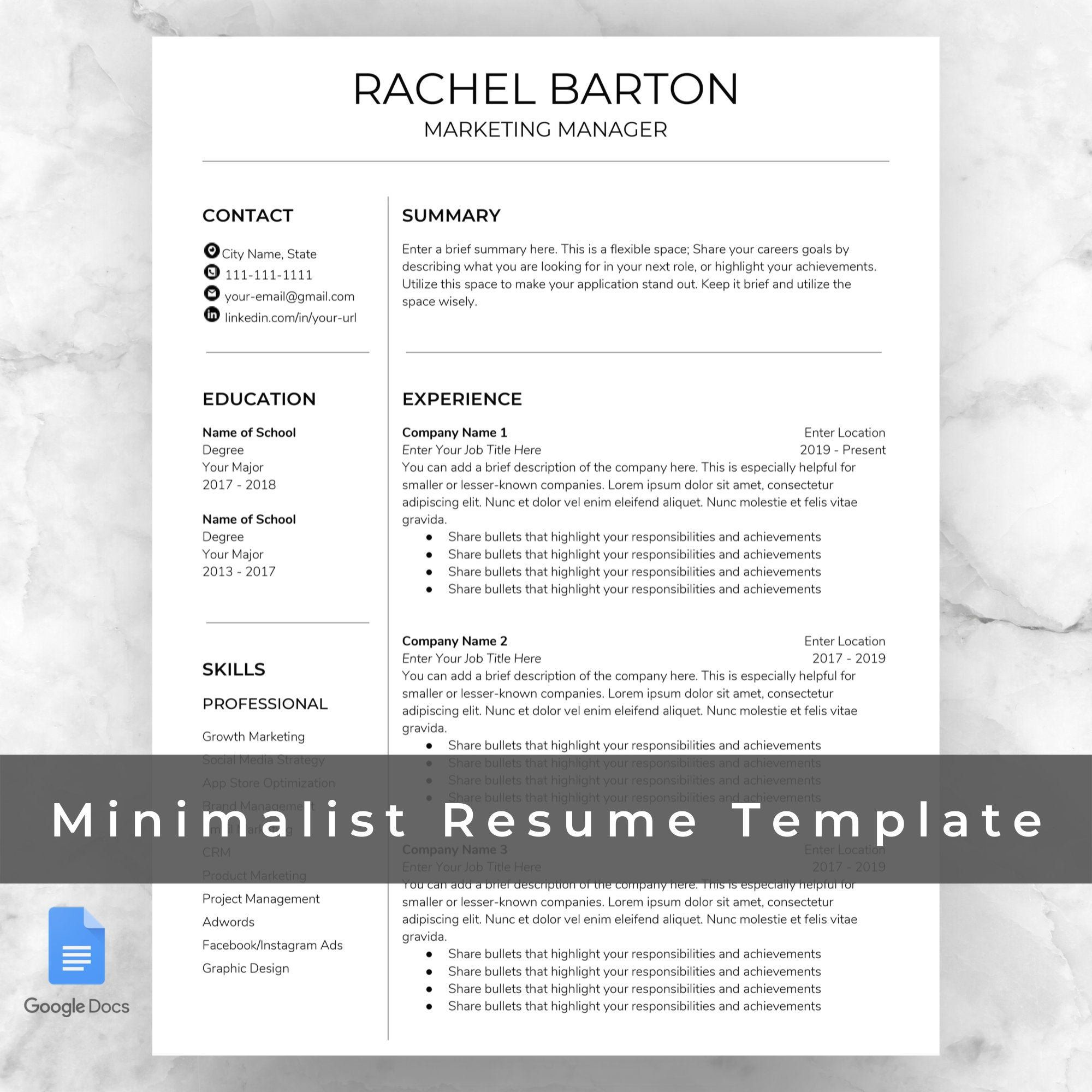 Minimalist Resume Template Google Docs / Two Pages & Cover