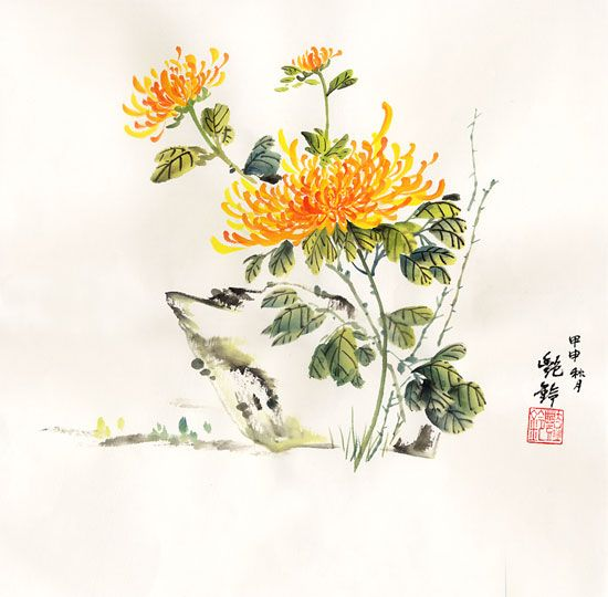 watercolor paintings of chrysanthemums | chrysanthemum4.jpg