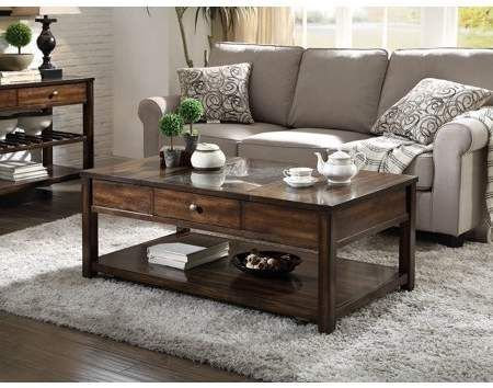Acme Cilnia Coffee Table In Black Marble And Walnut Walmart Com Coffee Table Living Room Coffee Table Coffee Table With Storage