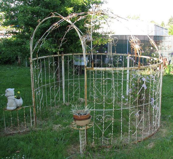 Vintage White Wrought Iron Gazebo Chippy By Frontstreetantiques