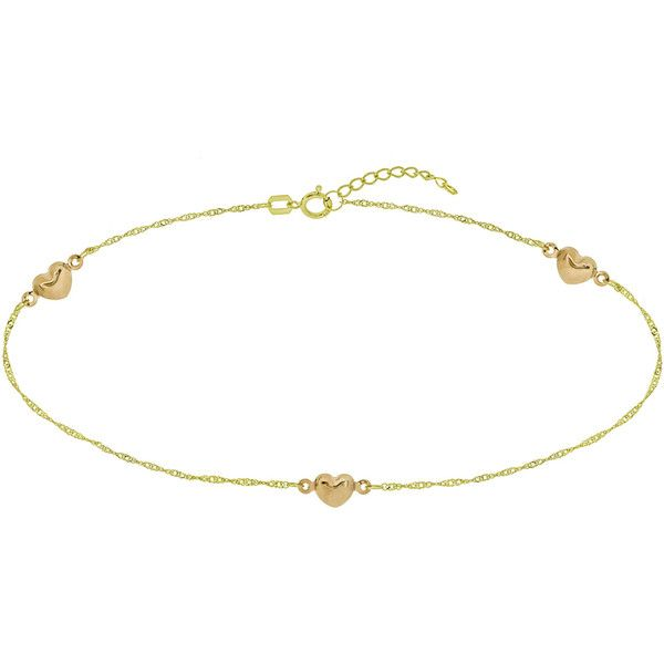 10 Heart Anklet in 14K Yellow and Rose Gold 148 liked on