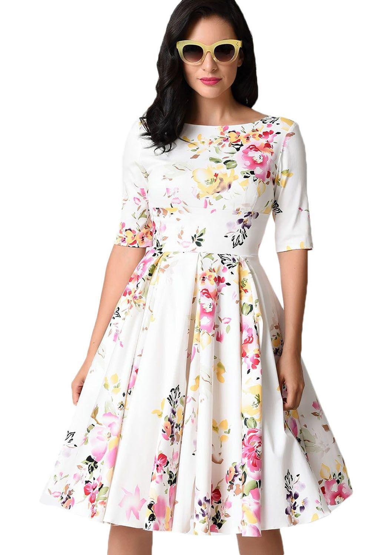 7d68db8f9c Sukienka vintage pin up biała rozkloszowana midi w kwiaty w 2019 ...