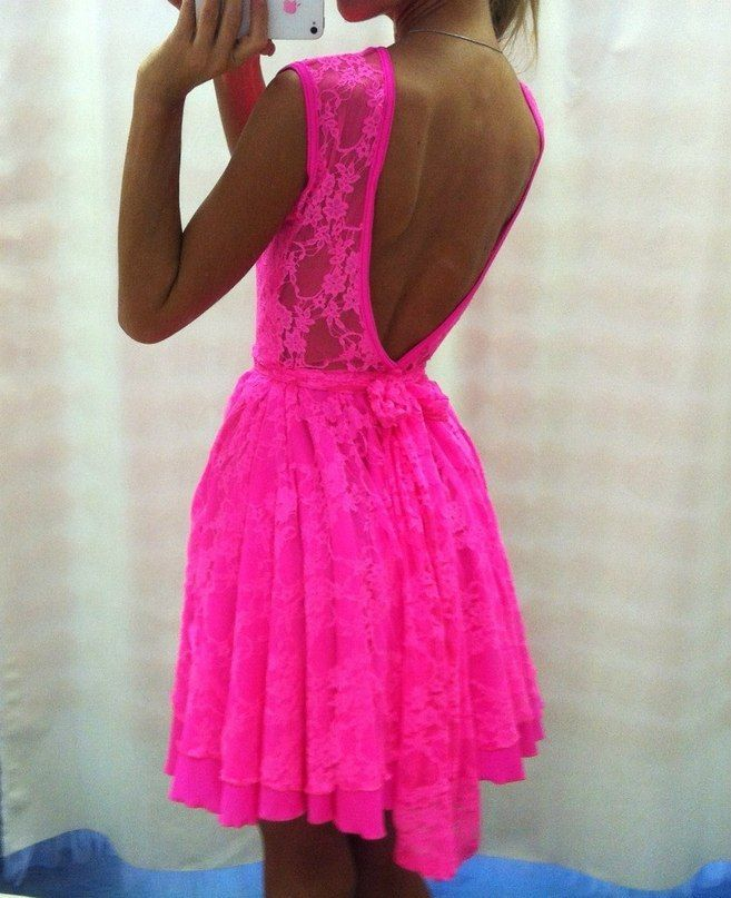 PINK LACE DRESS WITH OPEN BACK on The Hunt | Neon Nights | Pinterest ...