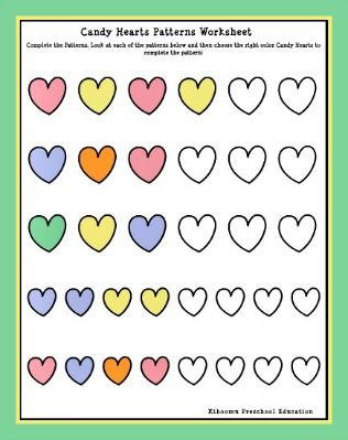 Candy Hearts Patterns Worksheet | Simon'S Preschool | Pinterest