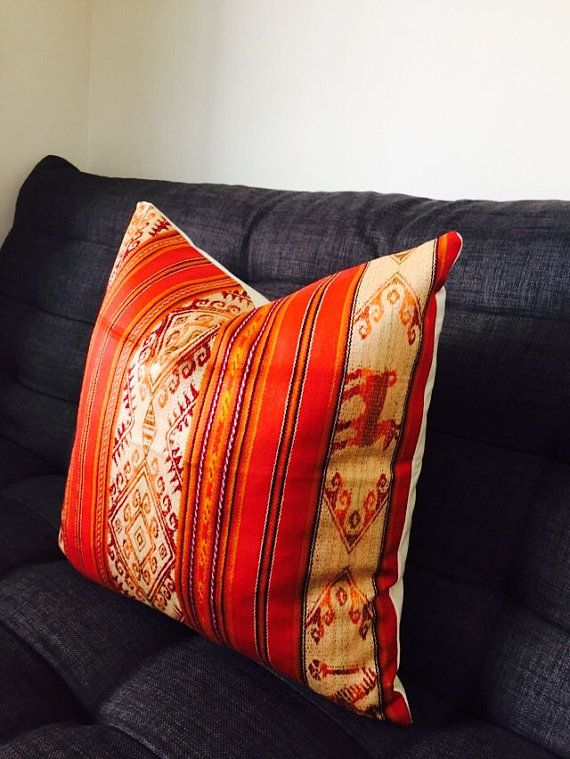 Orange Tribal Pillow Cover 20x20 Pillow Covers Orange And Gold