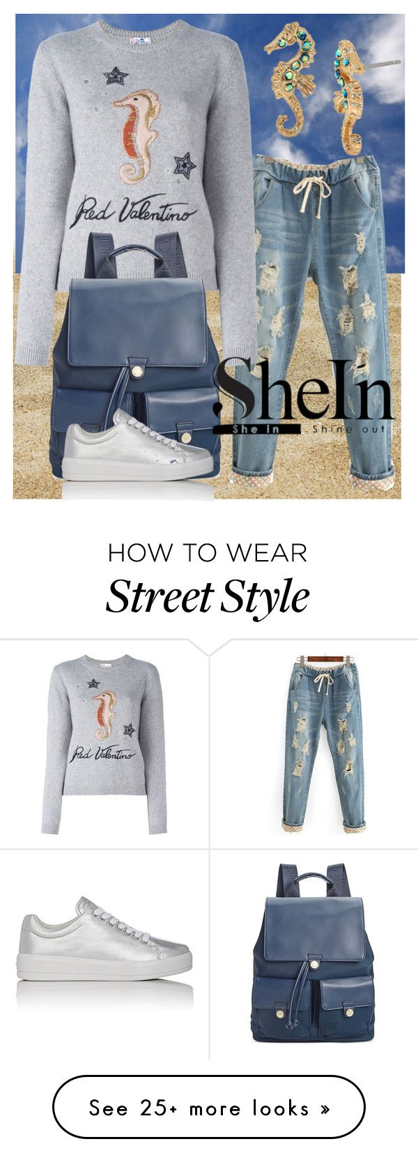 """SheIn Ripped Denim Jeans"" by deborah-calton on Polyvore featuring RED Valentino, Calvin Klein, Prada Sport, Betsey Johnson and shein"